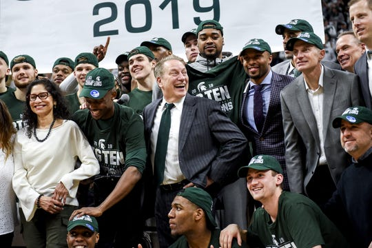 Michigan State's head coach Tom Izzo celebrates with the team on Saturday, March 9, 2019, at the Breslin Center in East Lansing.
