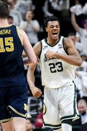 Michigan State's Xavier Tillman celebrates during the second half on Saturday, March 9, 2019, at the Breslin Center in East Lansing.