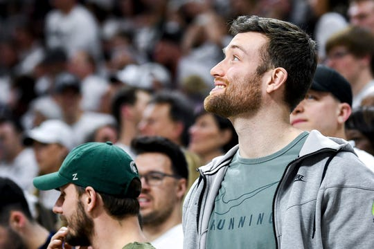 Former Michigan State basketball player Matt Costello looks on during the second half on Saturday, March 9, 2019, at the Breslin Center in East Lansing.