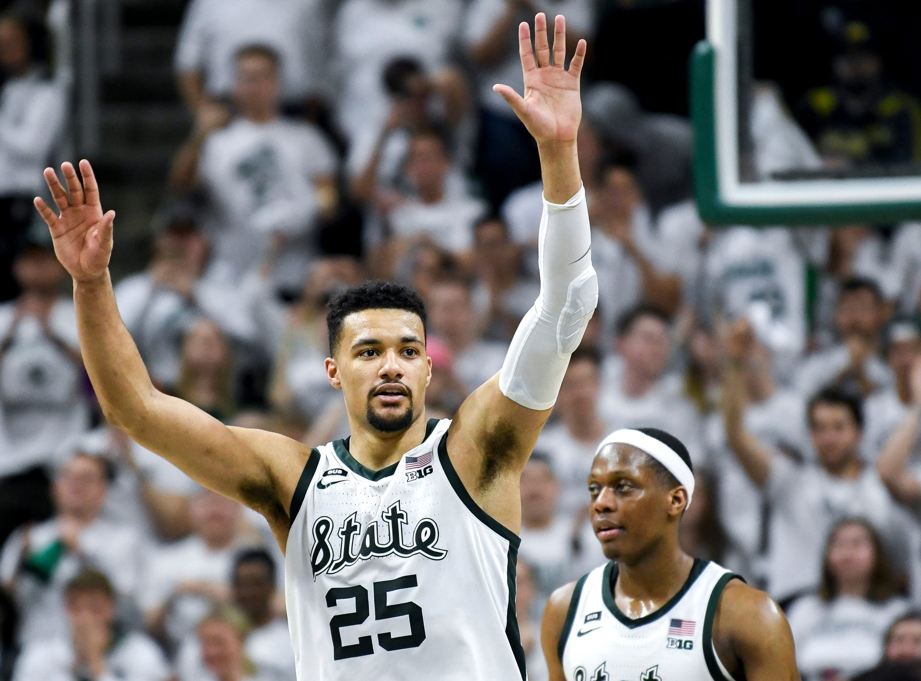 Michigan State senior Kenny Goins is recognized by the crowd during the second half on Saturday, March 9, 2019, at the Breslin Center in East Lansing.