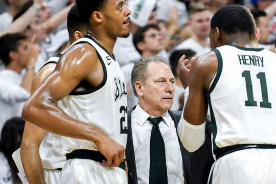 Michigan State's head coach Tom Izzo talks with the team during the second half on Saturday, March 9, 2019, at the Breslin Center in East Lansing.