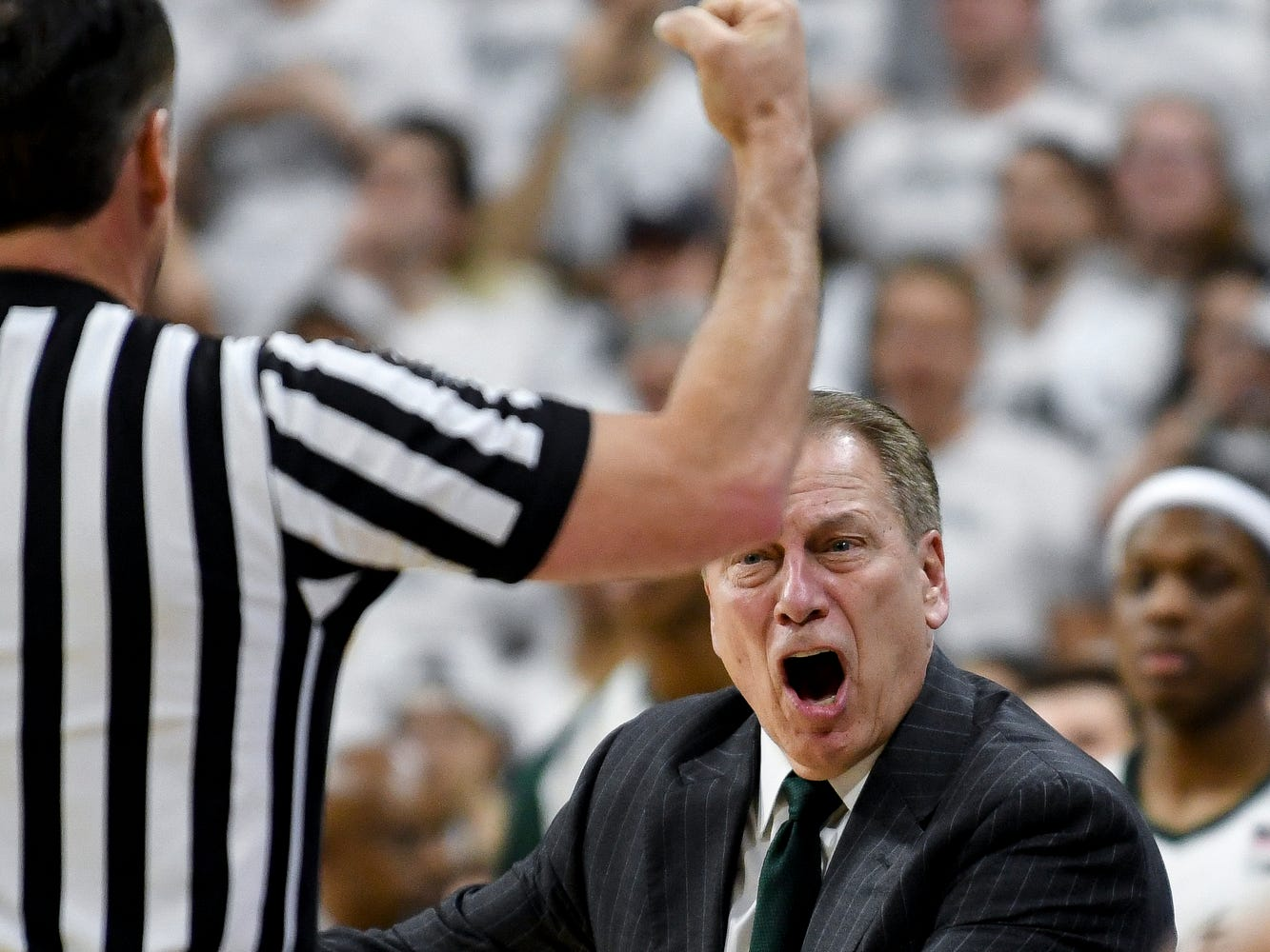Michigan State's head coach Tom Izzo argues with a ref over a call late during the first half on Saturday, March 9, 2019, at the Breslin Center in East Lansing.
