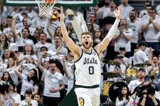Michigan State's Kyle Ahrens celebrates during the second half on Saturday, March 9, 2019, at the Breslin Center in East Lansing.