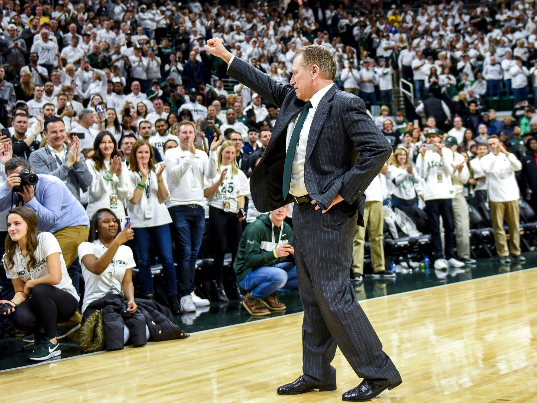 Michigan State's head coach Tom Izzo addresses the crowd  after beating Michigan 75-63 on Saturday, March 9, 2019, at the Breslin Center in East Lansing.