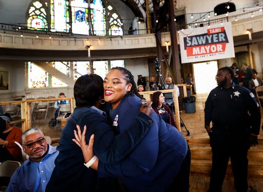"""Shelby County Commissioner Tami Sawyer attends a """"Memphis Can't Wait"""" rally in March after announcing her bid for Memphis mayor."""
