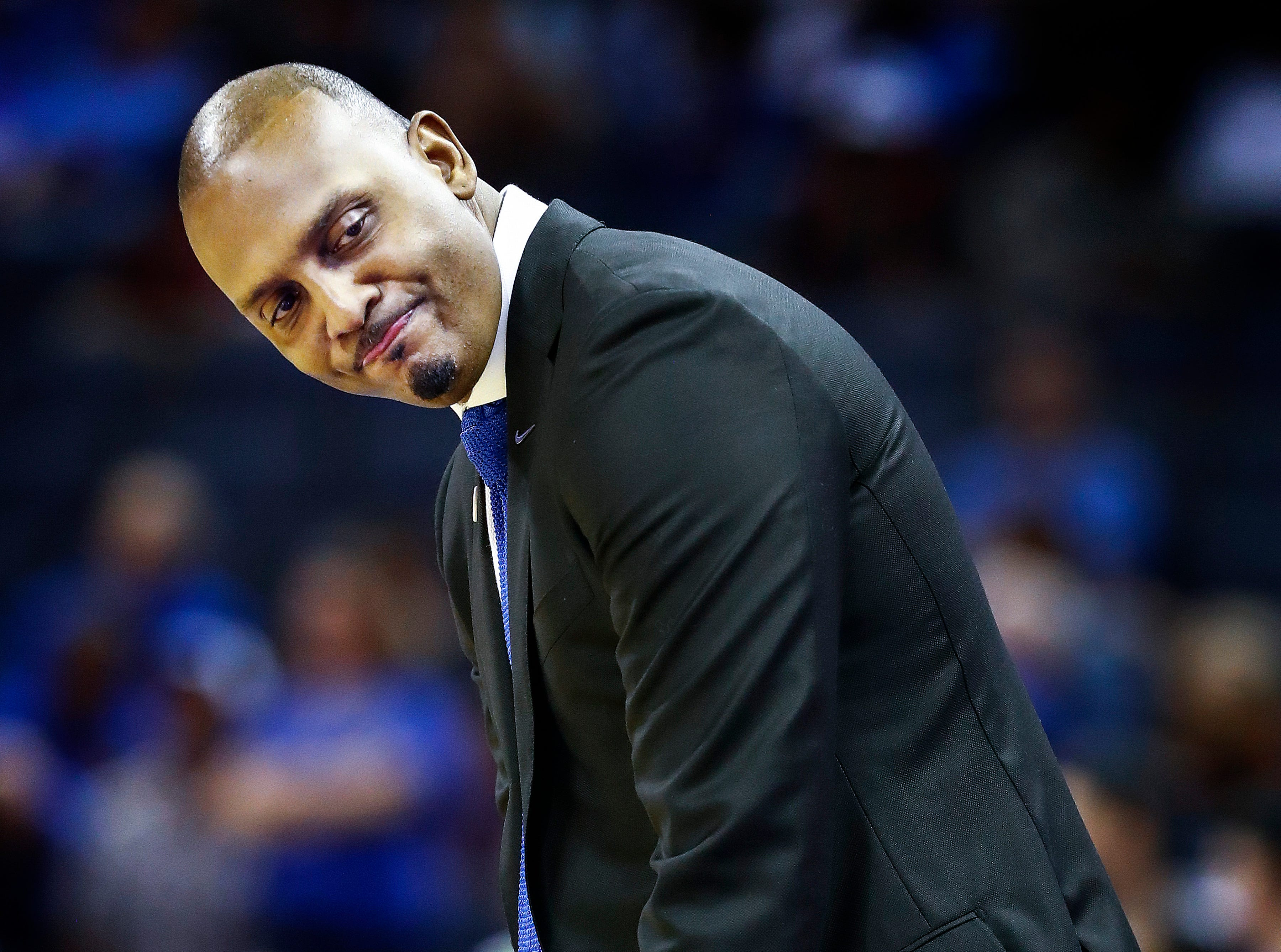 Memphis head coach Penny Hardaway during action against Tulsa at the FedExForum, Saturday, March 9, 2019.