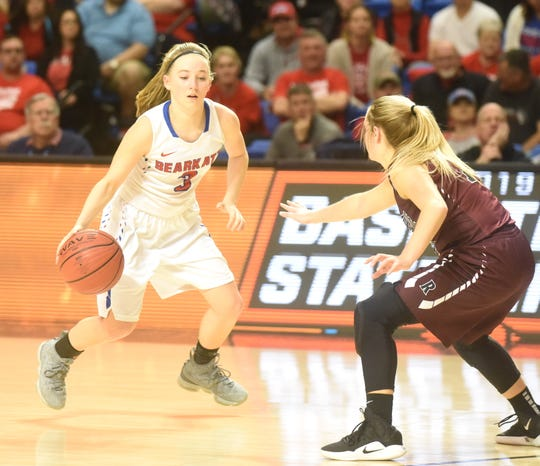 Melbourne's Kiley Webb dribbles around a defender during her team's state championship victory over Riverside.