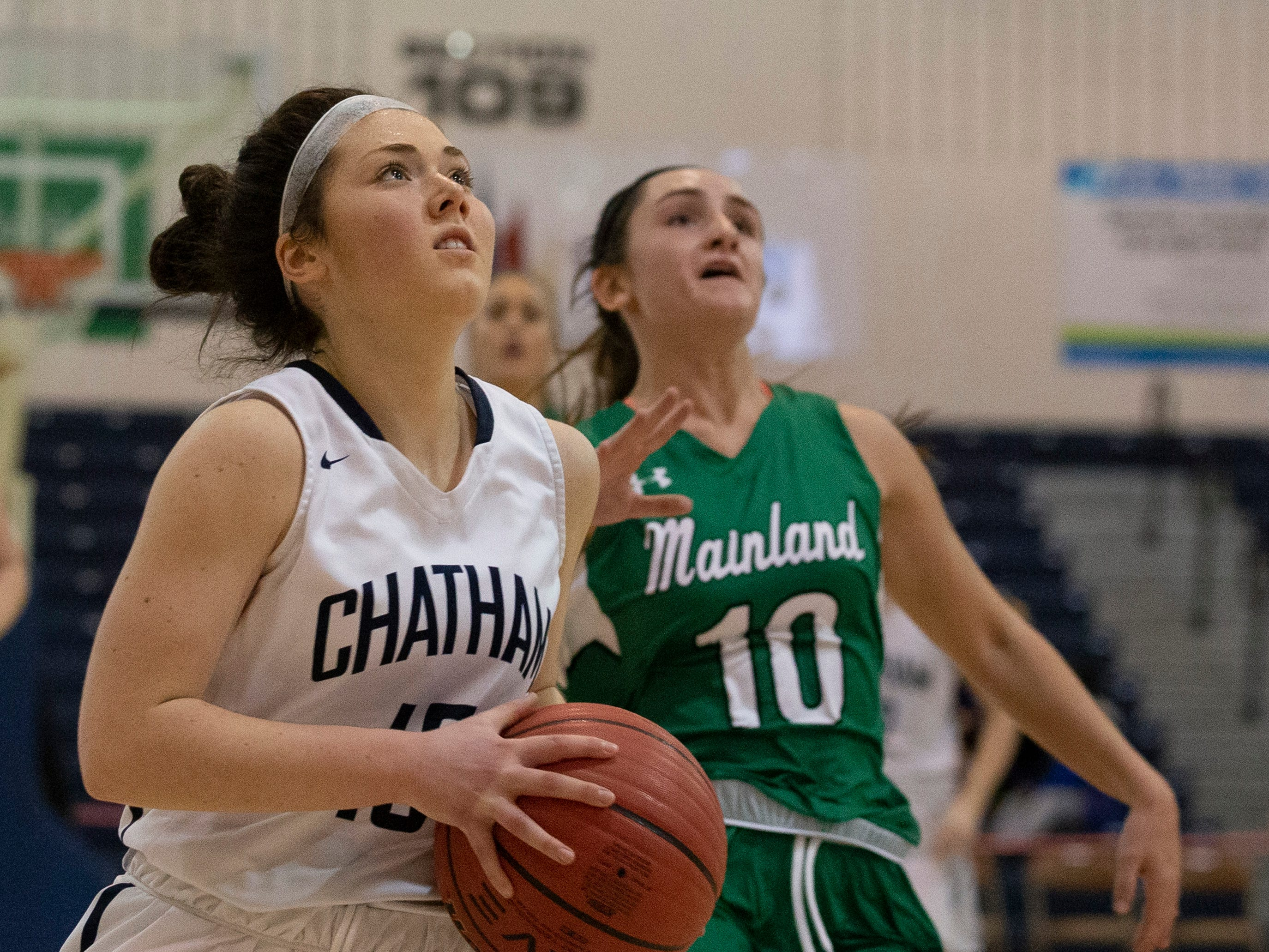 Tess Ford, Chatham, drives to the basket. Chatham Girls Basketball vs Mainland in Girls Group III Final in Toms River on March 10, 2019.