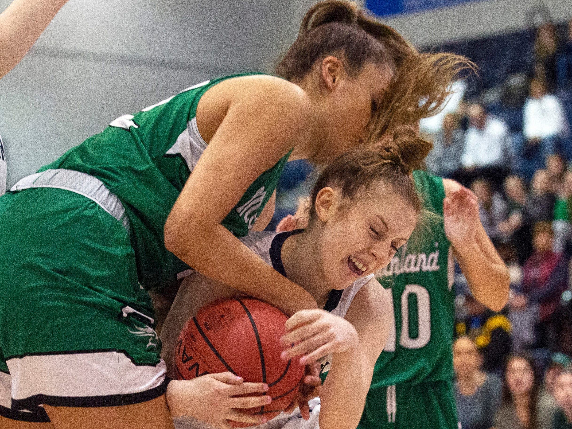 Michaela Ford, Chatham, battles with Kylee Watson, Mainland for a rebound during first half action. Chatham Girls Basketball vs Mainland in Girls Group III Final in Toms River on March 10, 2019.