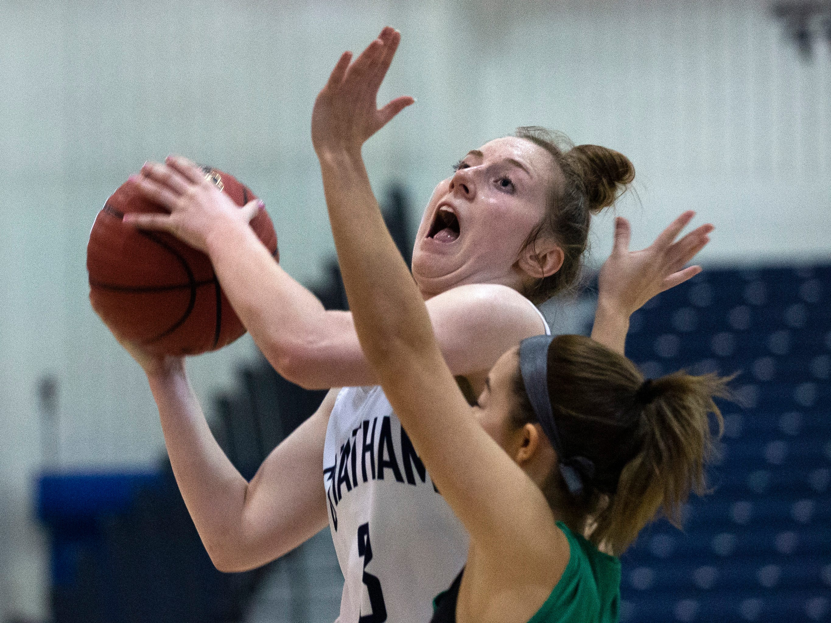 Michaela Ford, Chatham, goes up with shot as time runs down on game. Chatham Girls Basketball vs Mainland in Girls Group III Final in Toms River on March 10, 2019.