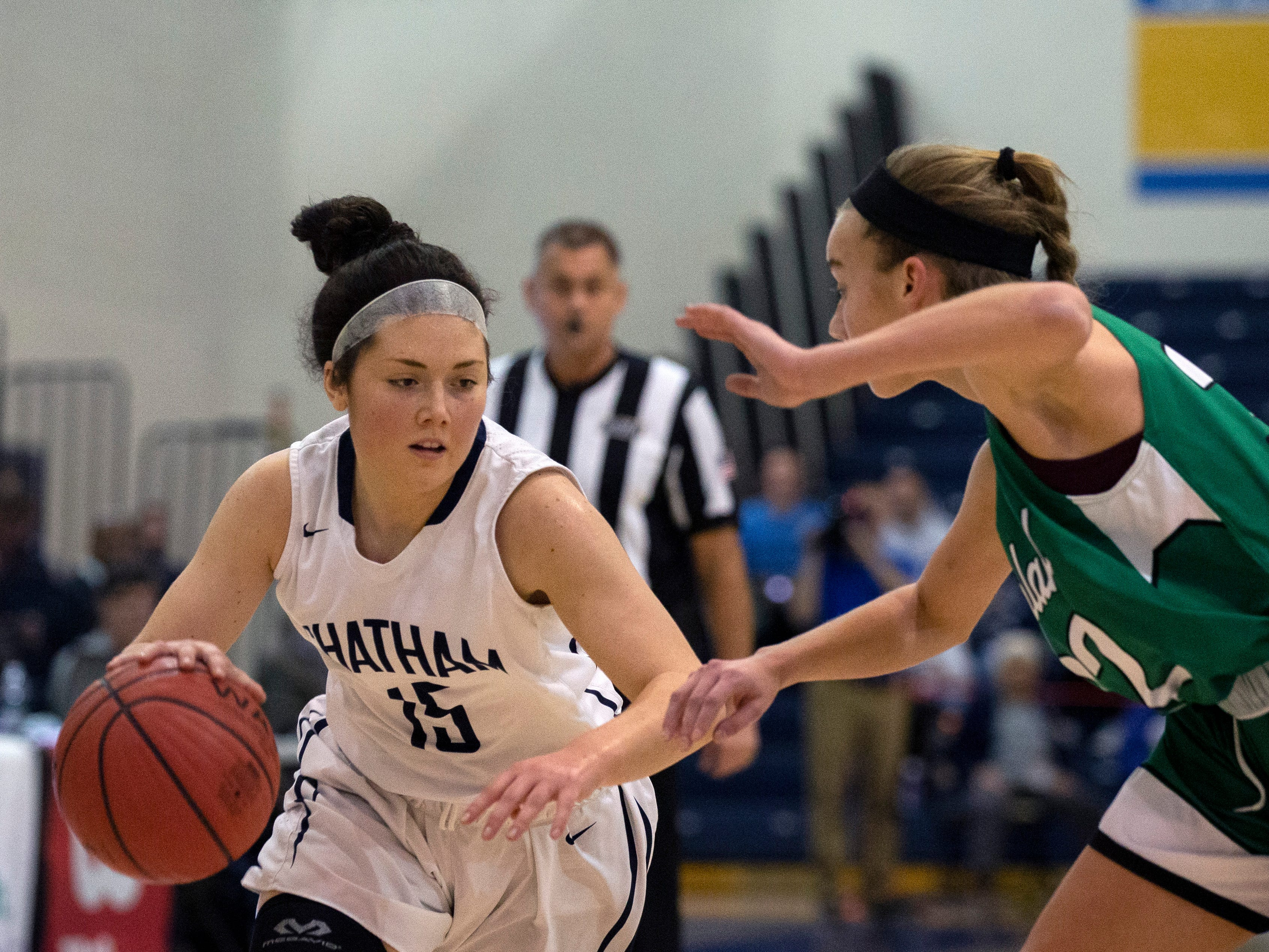 Chatham sophomore guard Tess Ford brings the ball up the court during the  Group III girls basketball final against Mainland in Toms River on March 10, 2019.