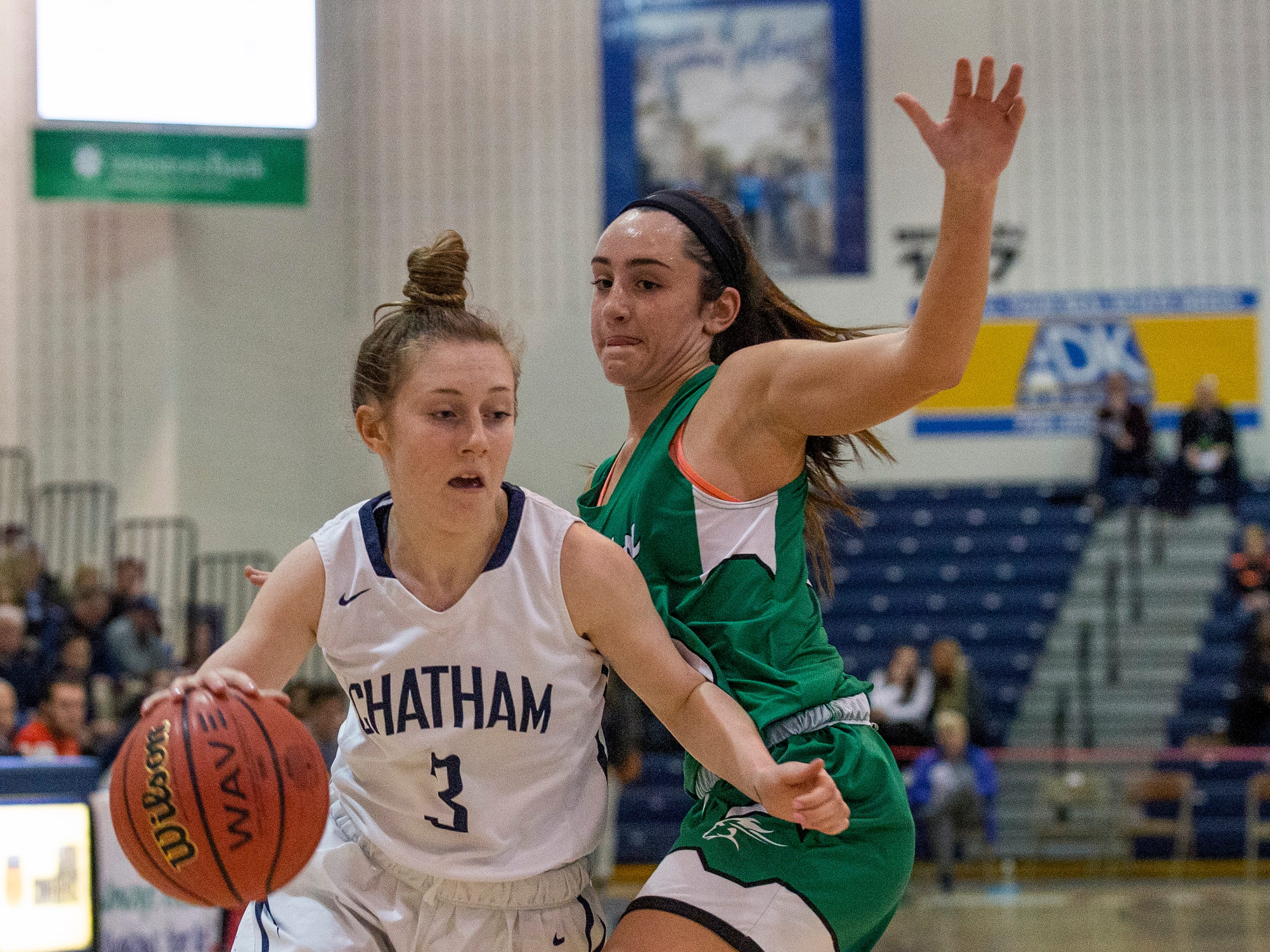 Chatham point guard Michaela Ford drives to the basket during the Group III girls basketball final against Mainland in Toms River on March 10, 2019.