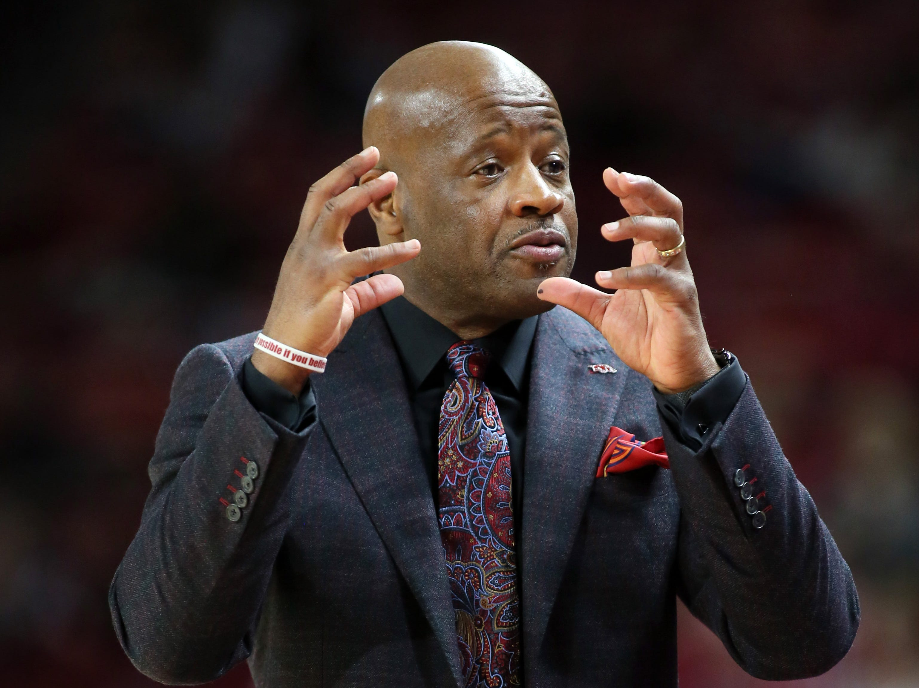 Mar 9, 2019; Fayetteville, AR, USA; Arkansas Razorbacks head coach Mike Anderson during the first half against the Alabama Crimson Tide at Bud Walton Arena. Mandatory Credit: Nelson Chenault-USA TODAY Sports