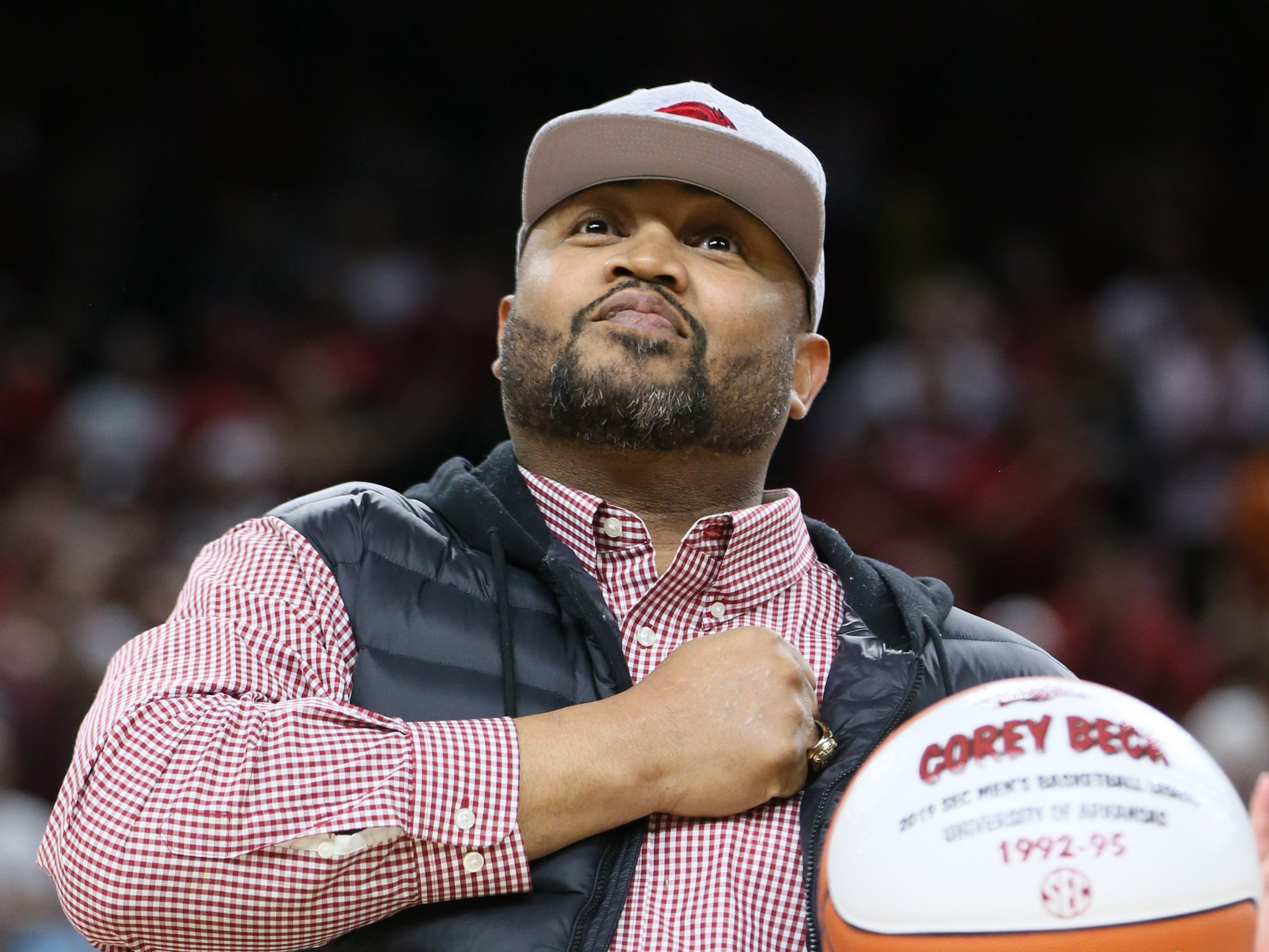 Mar 9, 2019; Fayetteville, AR, USA; Former Arkansas Razorbacks and NBA player Corey Beck is honored during the first half against the Alabama Crimson Tide at Bud Walton Arena. Mandatory Credit: Nelson Chenault-USA TODAY Sports