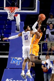 UTEP guard Evan Gilyard (3) goes up for a shot  as MTSU forward Reggie Scurry (22) guards him, on Saturday, March 9, 2019, at Murphy Center in Murfreesboro, Tenn.