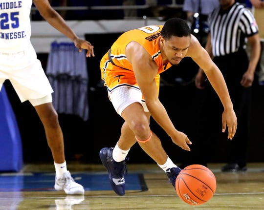 UTEP guard Nigel Hawkins (0) goes after a loose ball during the game against MTSU on Saturday, March 9, 2019, at Murphy Center in Murfreesboro, Tenn.