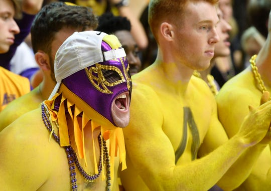 Lipscomb fans cheer on the Bisons against Liberty on Sunday at Allen Arena.