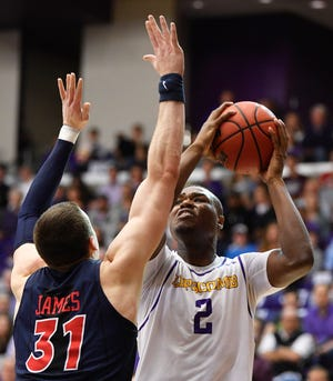 Lipscomb center Ahsan Asadullah looks for an opening against Liberty in the 2019 ASUN championship game.