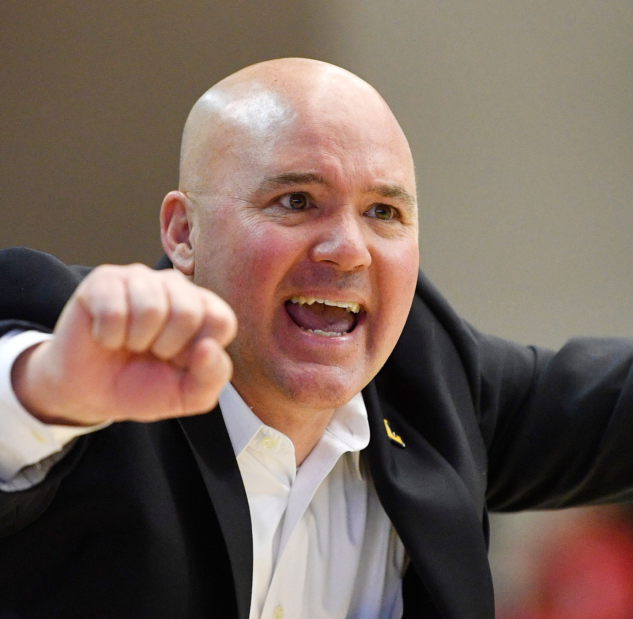 Lipscomb Coach Casey Alexander gives instructions to his team as Lipscomb plays Liberty in the championship of the Atlantic Sun Conference Tournament at Allen Arena Sunday, March 10, 2019, in Nashville, Tenn.
