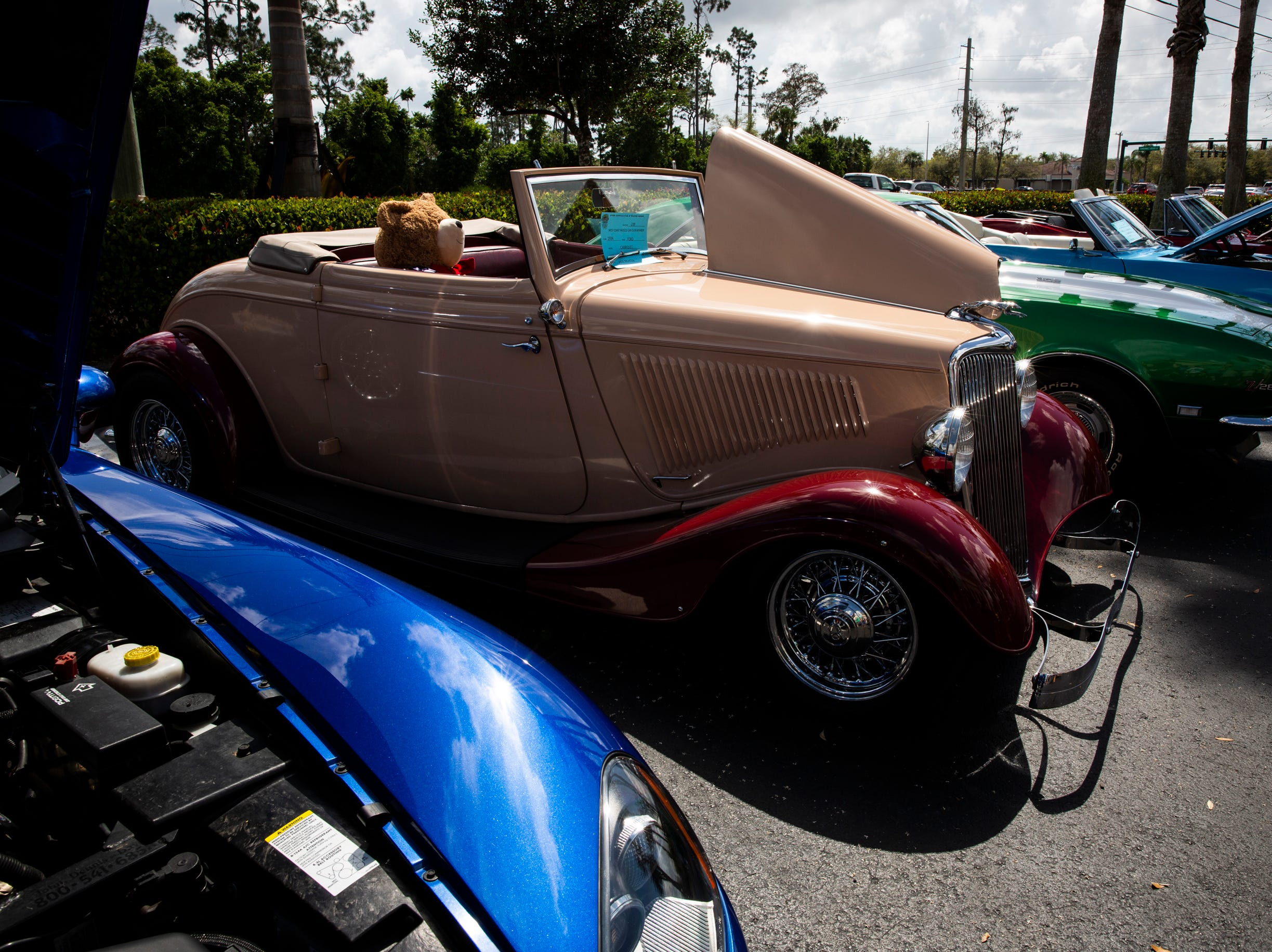A row of cars sit on display during the West Coast Muscle Car Club's 15th annual car and truck show at the Galleria Shoppes at Vanderbilt in Naples on Sunday, March 10, 2019.