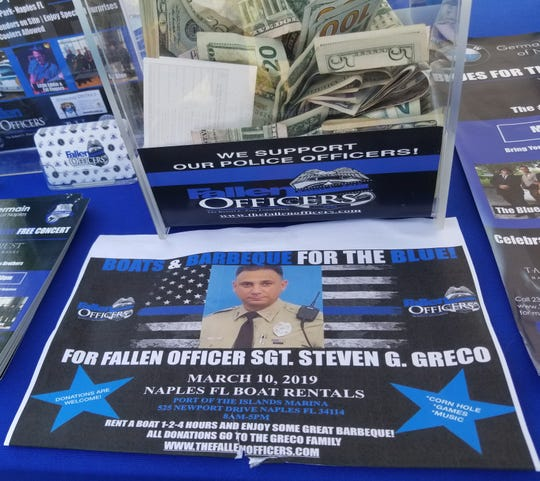 A barbecue benefit Sunday, March 10, 2019, raised hundreds of dollars for the wife and newborn daughter of Miccosukee Police Officer Steven Greco, who was killed in a head-on collision Feb. 16.