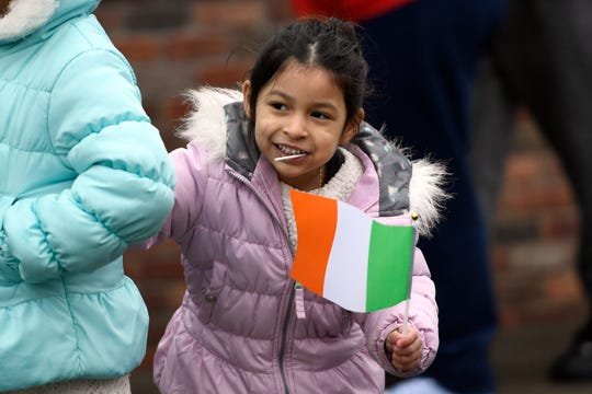 Samantha Gomez, 5, of Bergenfield waits for the rest of the parade to come down Washington avenue during Bergen County's 38th annual St. Patrick's Day Parade on Sunday, March 10, 2019 in Bergenfield