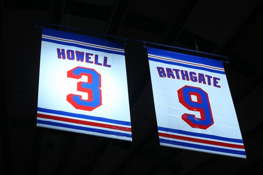 NEW YORK - FEBRUARY 22:  Former New York Ranger players Andy Bathgate and Harry Howell are honored by the team prior to the game between the Toronto Maple Leafs and the New York Rangers on February 22, 2009 at Madison Square Garden in New York City.