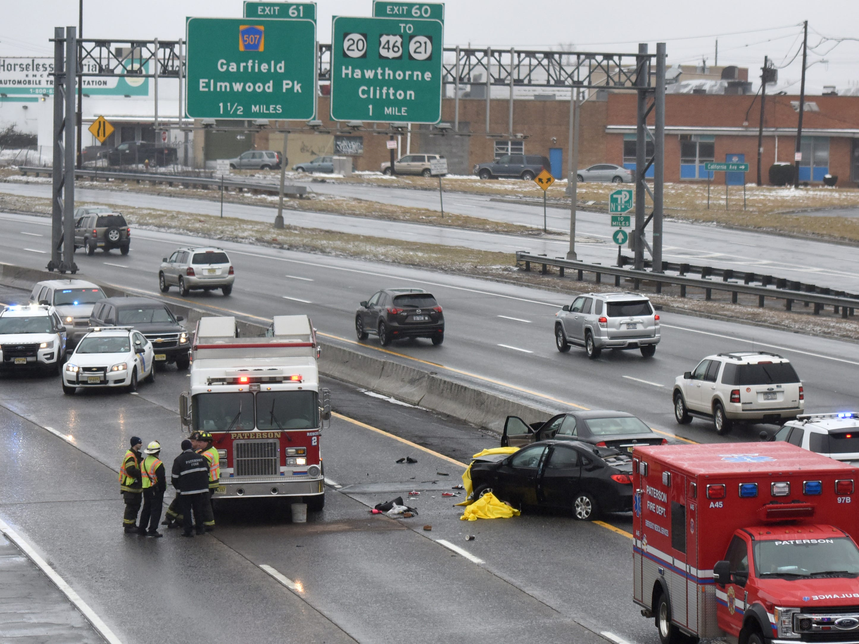 Two people were killed in a crash along Route 80 W near Madison Ave. exit in Paterson on Sunday, March 10, 2019.