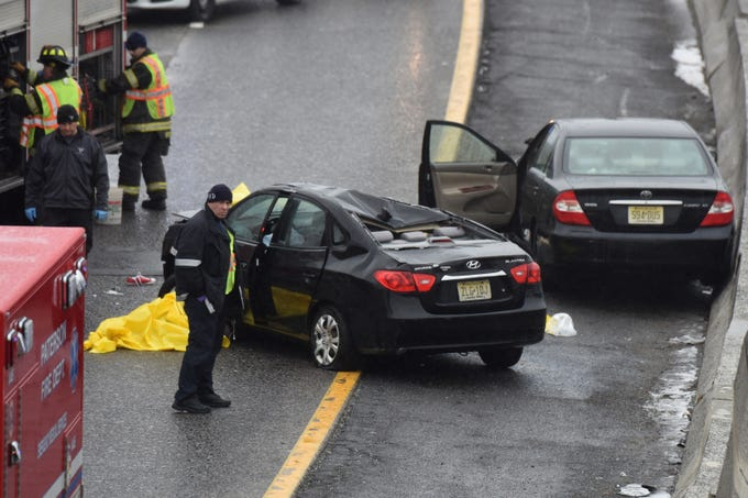 Two people were killed in a crash along Route 80 west near the Madison Avenue exit in Paterson on Sunday, March 10, 2019.