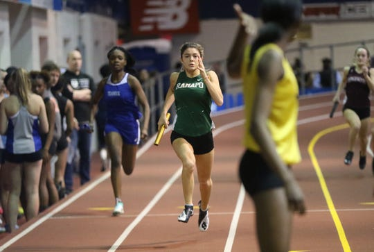 Grace O'Shea of Ramapo qualified for Sunday morning's semifinals in the 60 meter hurdles at the New Balance Indoor Track Nationals on Saturday, March 9, 2019.