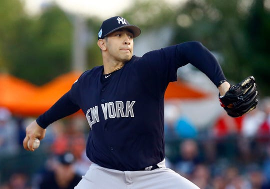 Mar 9, 2019; Sarasota, FL, USA; New York Yankees starting pitcher Luis Cessa (85) throws a pitch during the first inning of a game against the Baltimore Orioles at Ed Smith Stadium.