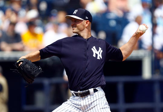 Mar 10, 2019; Tampa, FL, USA; New York Yankees pitcher J.A. Happ (34) throws a pitch during the first inning against the Pittsburgh Pirates at George M. Steinbrenner Field.
