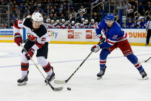 Mar 9, 2019; New York, NY, USA;  New Jersey Devils center Blake Coleman (20) plays the puck against New York Rangers center Filip Chytil (72) during the first period at Madison Square Garden.