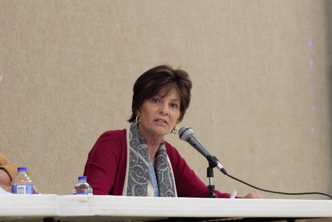Yvette Herrell, Republican candidate for the U.S. House of Representatives, speaks at a border security town hall in Deming, New Mexico, March 9, 2019.