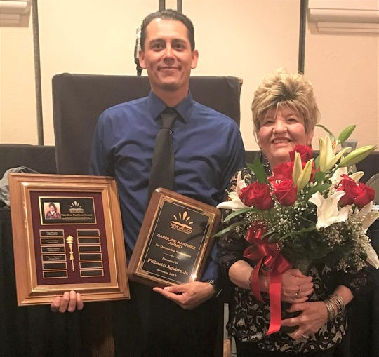 Las Crucesassociate Filiberto Aguirre, left, with New Mexico Water and Wastewater Association Executive Manager Caroline Martinez.