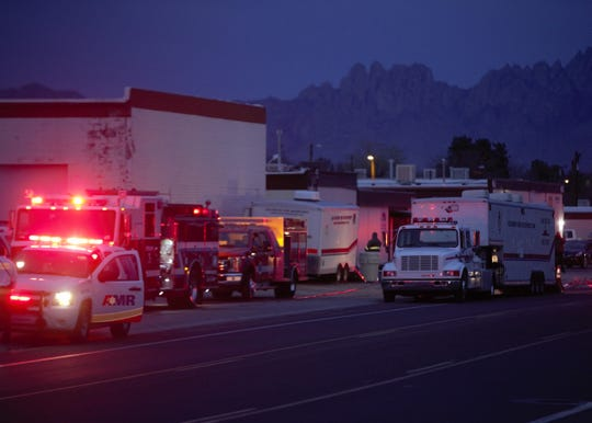 Authorities respond the evening of Saturday, March 9, 2019 to a reported explosion at a warehouse at 1760 W. Hadley Ave. in Las Cruces.