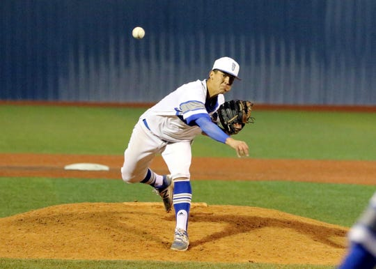 TJ Ruiz pitches for Carlsbad. He came in as a relief pitcher and limited Artesia to one run in his effort.