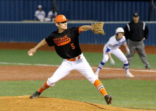 Collin Turner pitches against Carlsbad on Saturday. Turner lasted five-plus innings before turning the ball over to the bullpen. Artesia won, 3-2 to claim the 2019 Caveman Classic.
