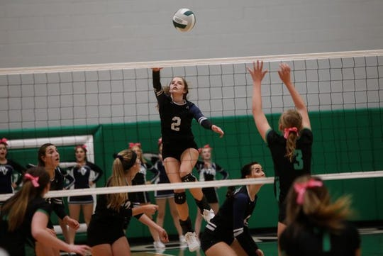 Piedra Vista's Kacee Moore, seen here in a District 2-5A match on Tuesday, Oct. 16, 2018 at Farmington, tallied a team-high 318 kills in 2018.