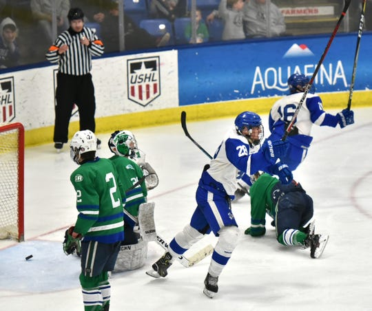 Shamrocks begin to celebrate their second goal - by Luke Collins - as they take a 2-0 lead over Saginaw.