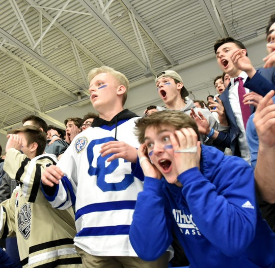 The Shamrock faithful cannot believe that their skaters missed an almost-certain goal in the second period.