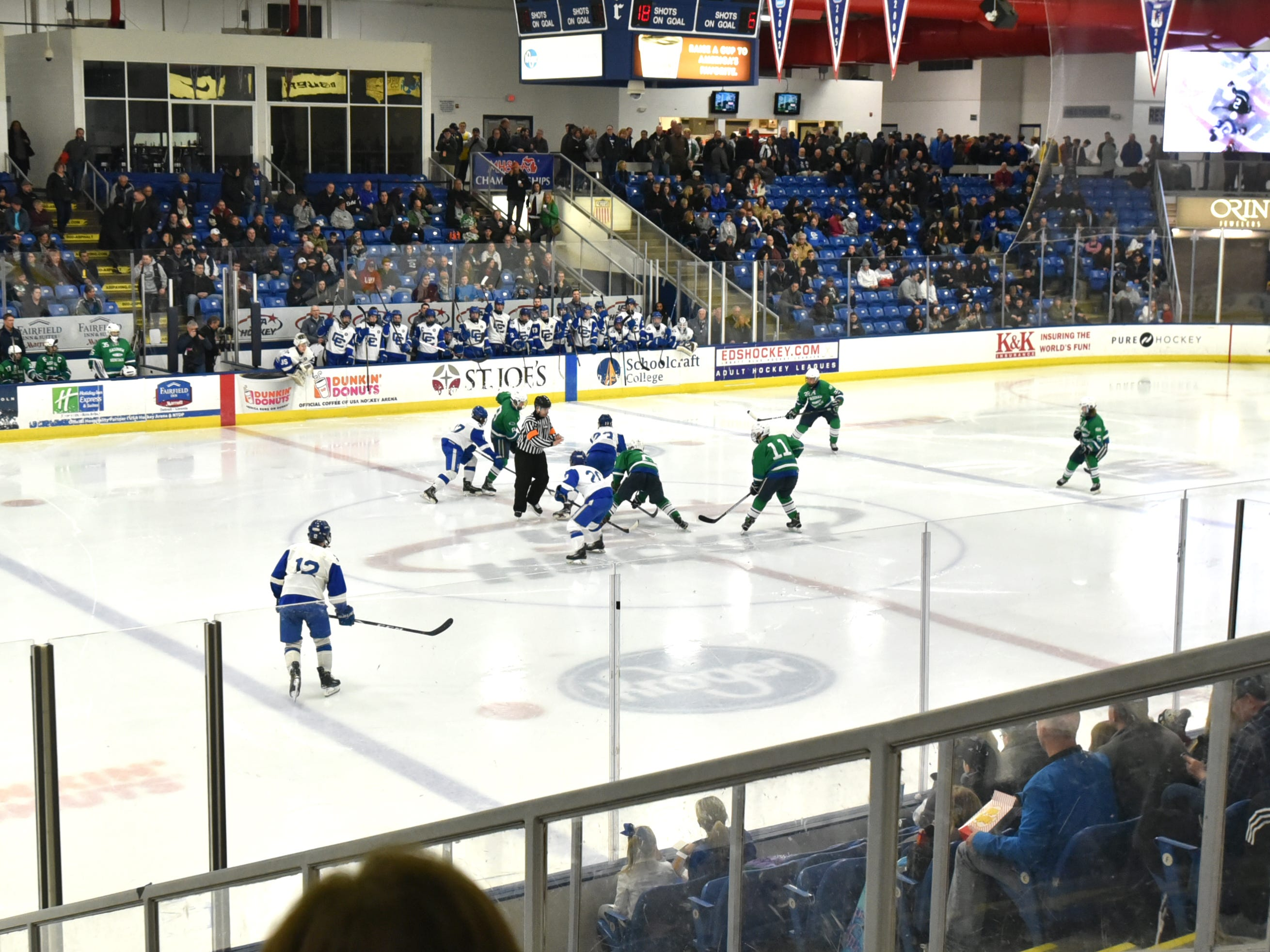 Detroit Cathlic Central took on Saginaw Heritage at the USA Hockey Arena in Plymouth on March, 9.