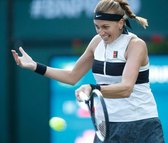 Petra Kvitova plays against Venus Williams on Stadium One at the 2019 BNP Paribas Open at Indian Wells Tennis Garden on March 9, 2019. Williams won the second round match.