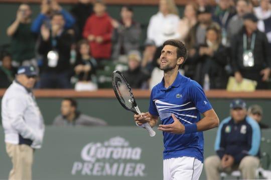 Novak Djokovic celebrates after defeating Bjorn Fratangelo at the BNP Paribas Open, Indian Wells, Calif., March 9, 2019.