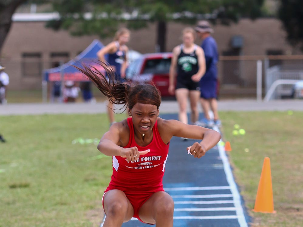 Pine Forest's Nicosha Nobles competes in the triple jump on Saturday, March 9, 2019, during the Aggie Invitational at Washington High School.