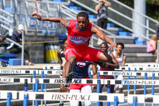 Pine Forest's Christian Bargaineer competes in the 110m hurdles on Saturday, March 9, 2019, during the Aggie Invitational at Washington High School.