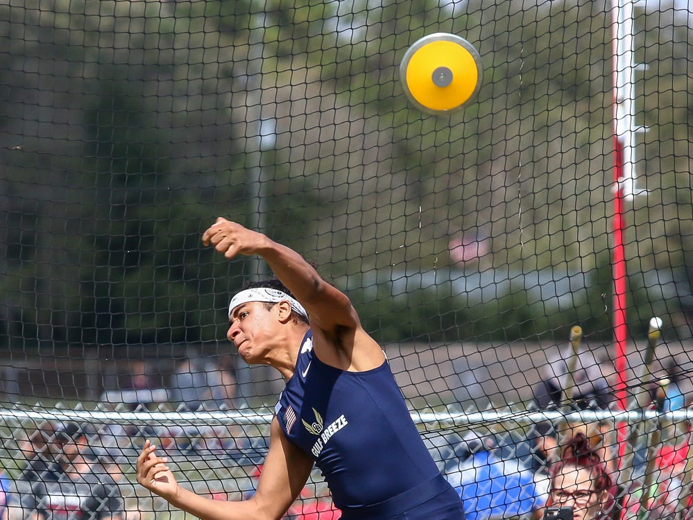 An athlete competes in the discus throw on Saturday, March 9, 2019, during the Aggie Invitational at Washington High School.