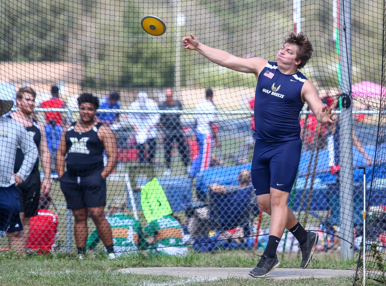 Gulf Breeze's Joel Gasten competes in the discus throw on Saturday, March 9, 2019, during the Aggie Invitational at Washington High School.