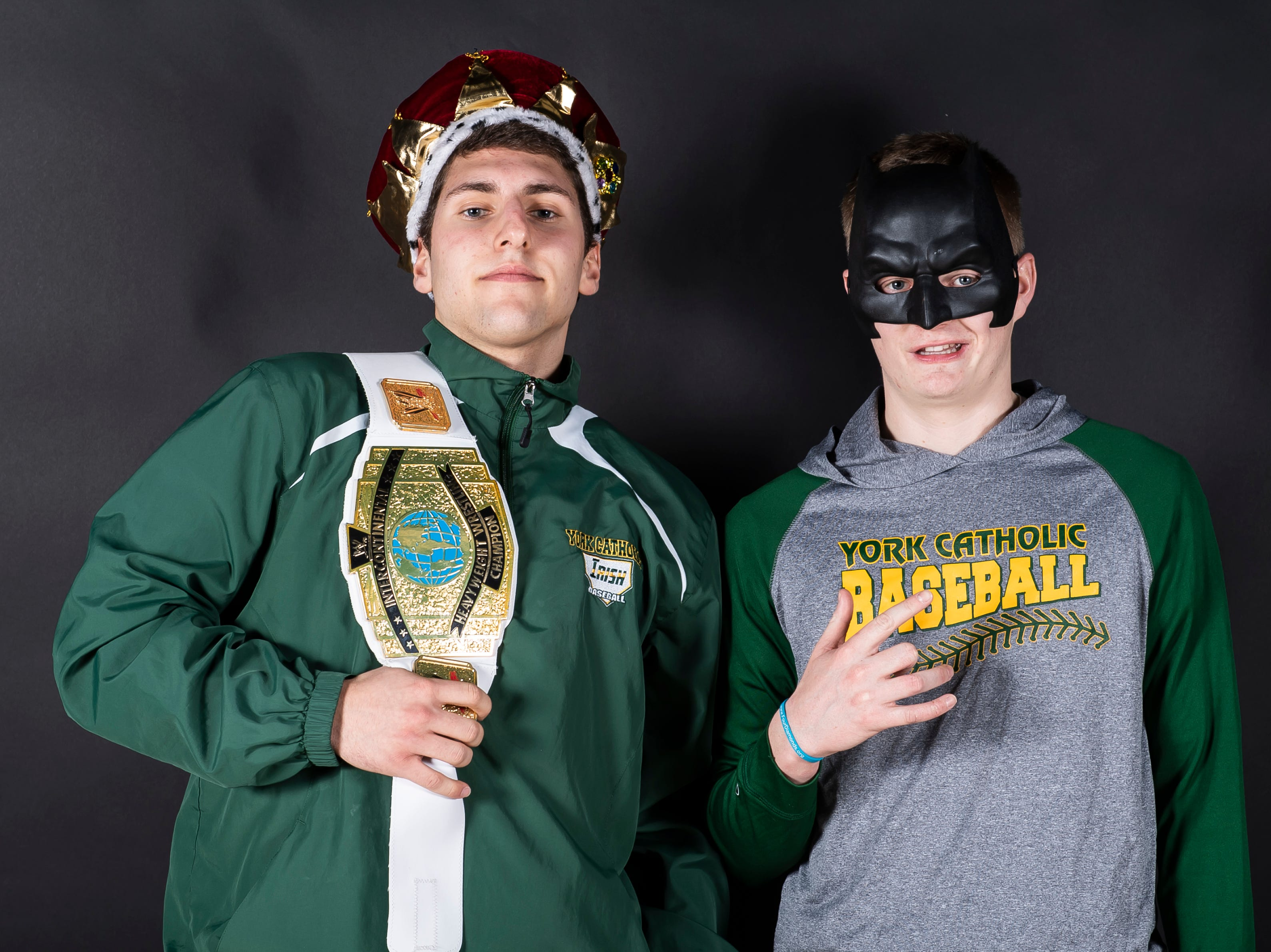 (From left) York Catholic baseball players Nick DeMarco and Bryan Bullen strike pose in the GameTimePA photo booth during spring sports media day in York Sunday, March 10, 2019.