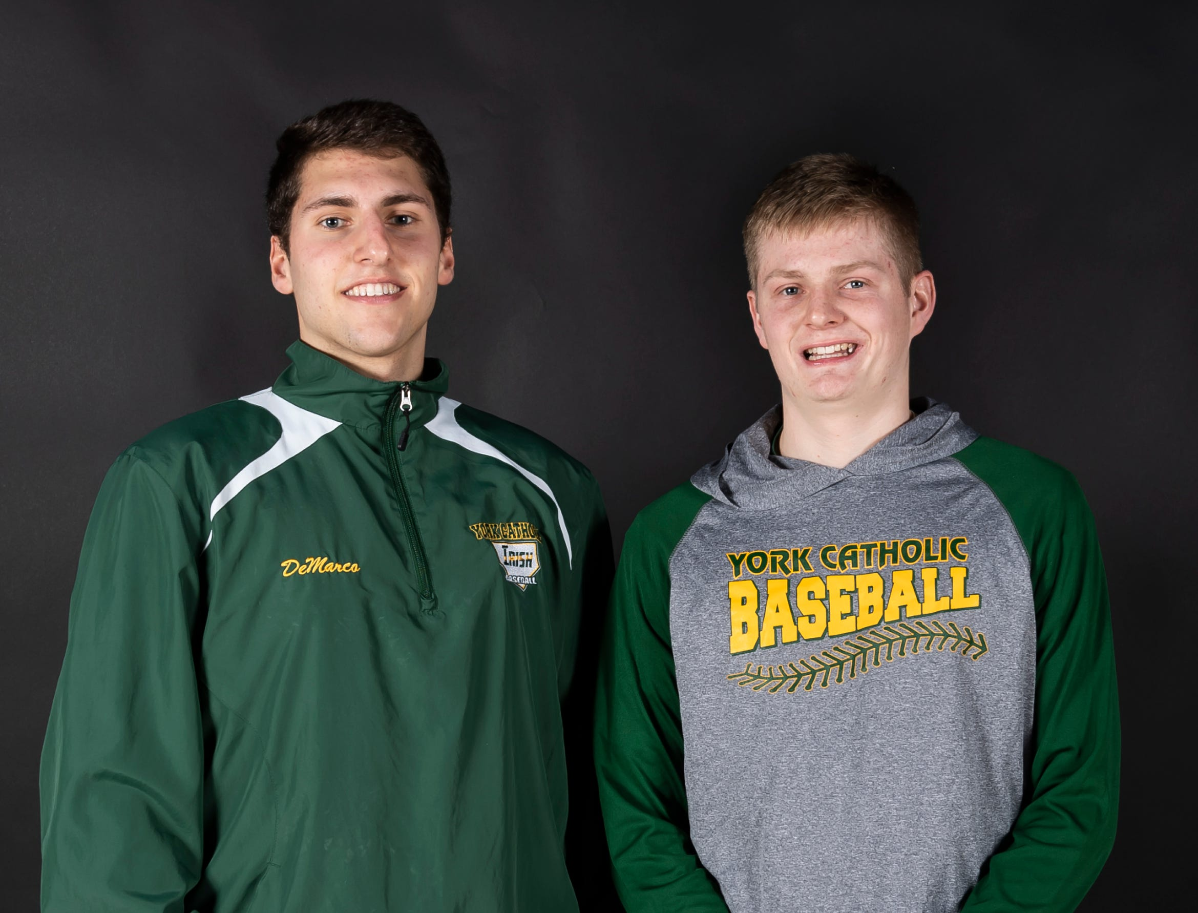 (From left) York Catholic baseball players Nick DeMarco and Bryan Bullen pose in the GameTimePA photo booth during spring sports media day in York Sunday, March 10, 2019.
